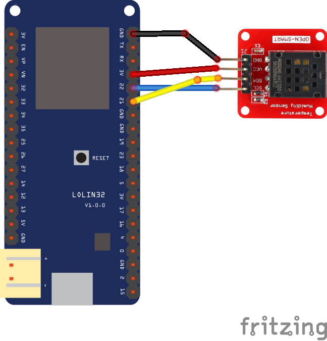 AM2320 temperature and humidity sensor and an ESP32 module - IoT